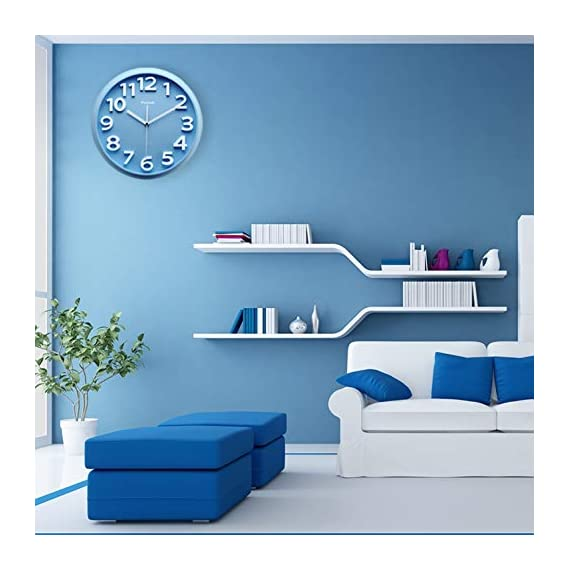 Plumeet 13'' Large Wall Clock - Silent Non-Ticking Quartz Wall Clocks for Living Room Decor - Modern Style Suitable for Home Kitchen Office - Battery Operated (Blue) - Wall Clocks for Living Room -- large numbers bulged out over blue dial face, super quiet & non-ticking, easily to see and read 13 inch diameter round frame. Eye-Catching Numeric -- Large and clear 3D intuitive numeric indicator at every hour and minute tracker make it easy to see from any corner of your room . Super Silent -- Precise quartz movements to guarantee accurate time, quiet sweep second hand ensure a good sleeping and work environment. - wall-clocks, living-room-decor, living-room - 41G7htieCrL. SS570  -