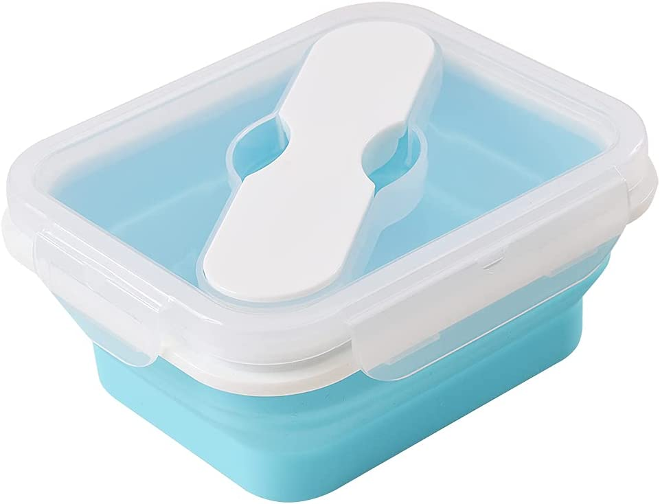 ionEgg Silicone Lunch Box With Spoon & Fork, Collapsible Food Storage Container with Clip-on Lid, 20 Oz
