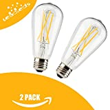 Leadleds 6W Dimmable LED Bulb with Long Filament, Vintage Edison Style E26 Medium Base, 610 Lumens 2700k Soft White, Replace 60W Incandescent Bulb, 2 Pack