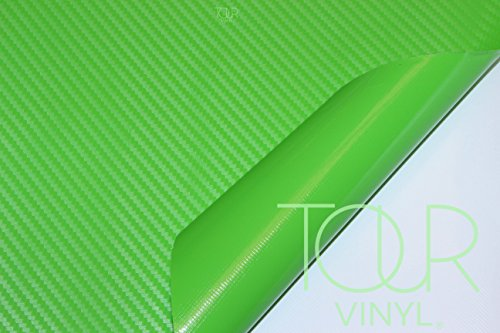 TourVinyl - 3d Carbon Fiber Vinyl Car Wrap - Any Size - Any Color - Includes Our 3 Year Warranty and Install Guide - Universal Exterior Outdoor and Interior Automotive Use - Flexible - Removable - With Air Bubble Release Channels Green 24-by-60-inch