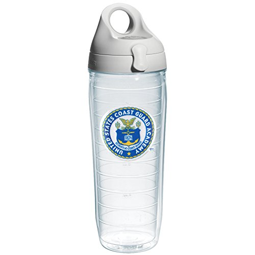- Tervis US Coast Guard Academy Emblem Individual Water Bottle with Gray Lid, 24 oz, Clear