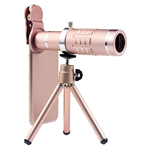 HD Telescope Universal 18X Zoom Telescope Telephoto Camera Lens with Tripod Mount & Mobile Phone Clip (Color : Rose Gold) by Gladnt