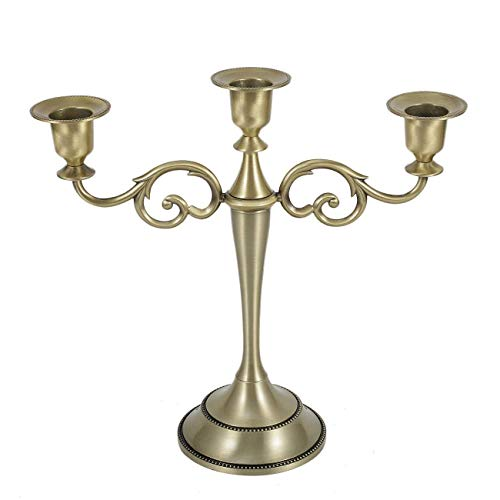 Dyna-Living Metal Candelabra, 3 Candle Holders Classical Tall Candlestick Wedding Events Candelabra Candle Stand Centerpiece, Bronze (Bronze Candelabra Centerpiece)