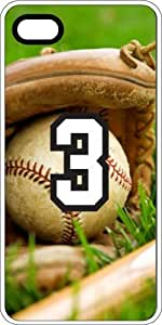 Baseball Sports Fan Player Number 3 White Rubber Decorative iPhone 6 PLUS Case by runtopwell