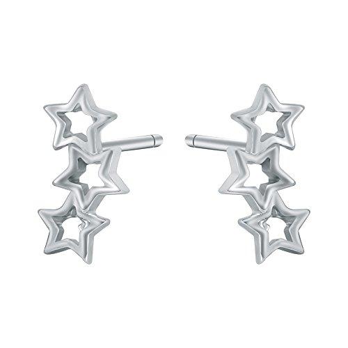 AoedeJ Triple Star Stud Earrings Sterling Silver Ear Climber Earrings Ear Crawler Cuff Earrings for Girls and Women (Style 1)