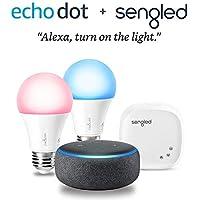 Echo Dot (3rd Gen) Smart speaker with Alexa (Charcoal) + Sengled Smart LED Multicolor Starter Kit