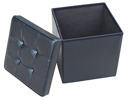Zulera Storage Ottoman Cube Foot Rest Stool Seat Foldable with Square Padded Seat (BLACK)