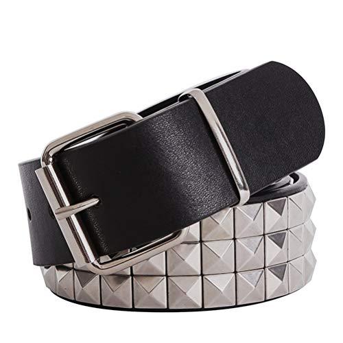 (Belts Shiny Pyramid Rivet Belt Men Women'S Studded Punk Rock With Pin Buckle(,Sliver belt,105CM))