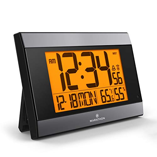 Marathon CL030052GG Atomic Digital Wall Clock with Auto-Night Light