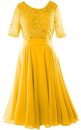 Women Midi Gown Formal Bride Lace of Neck Half Mother Gelb Dress O the Sleeve MACloth ASqUawxS