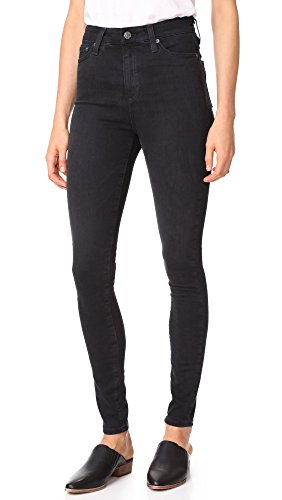 High Waisted Designer Jeans - AG Adriano Goldschmied Women's The Mila High Rise Full Length Skinny Jean, 3 Years-Obsidian, 27