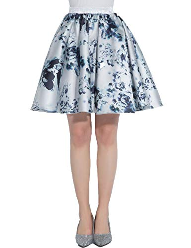 Mini Printed Satin - Beiqian Womens Floral Printed Satin Skirt Short A-line Casual Mini Party Dress Vintage(Floral 18,L/XL)