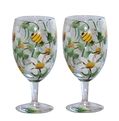- Set of 2. Hand Painted Glasses Feature Bees & White Daisies