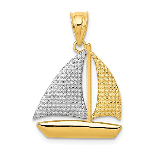 Jewel Tie 14K Rhodium Plated Yellow Gold Textured Sailboat Pendant - (0.79 in x 0.71 in)