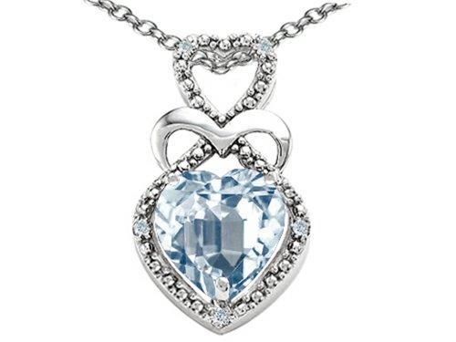 Heart Shape 8mm Genuine Aquamarine Pendant Necklace 10k White Gold