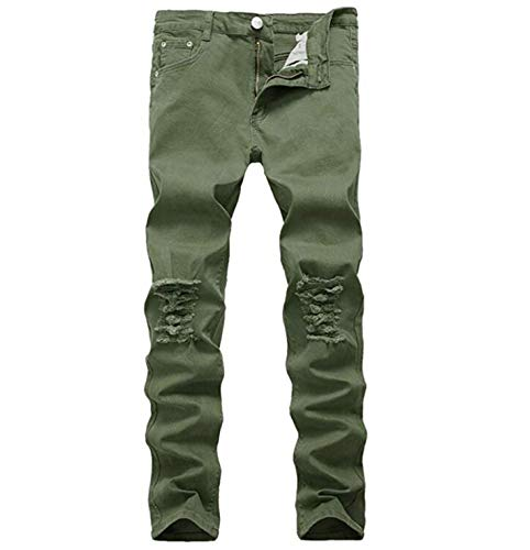 Boy's Skinny Fit Ripped Destroyed Distressed Stretch Slim Jeans Pants Army Green 12