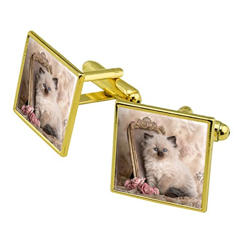 - Graphics and More Ragdoll Tiffany Cat Kitten Victorian Roses Square Cufflink Set Gold Color