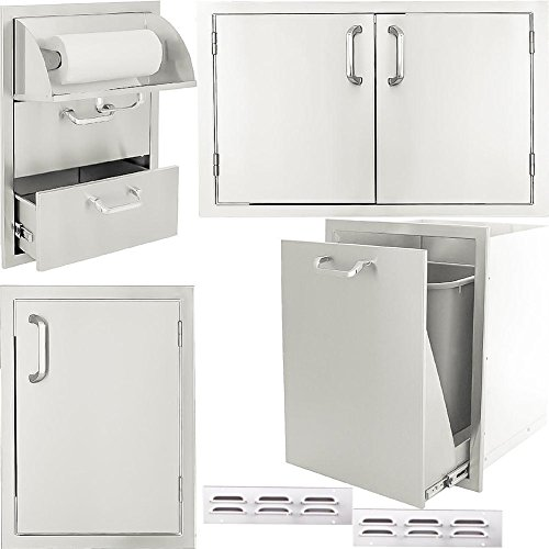 Drawers Flush Mounted Single (BBQGuys.com Kingston Series 6-Piece Outdoor Kitchen Storage Package)