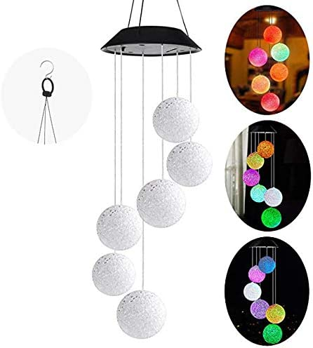 HelloCreate Solar Powered Wind Chime Waterproof Color Changing Sun//Star LED Wind Chime For Home Balcony Garden