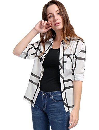 Allegra K Women Roll Up Sleeves Buttoned Tunic Plaid Shirt Black L