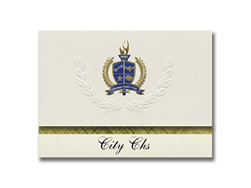 Signature Announcements City Chs (Pittsburgh, PA) Graduation Announcements, Presidential style, Elite package of 25 with Gold & Blue Metallic Foil seal]()