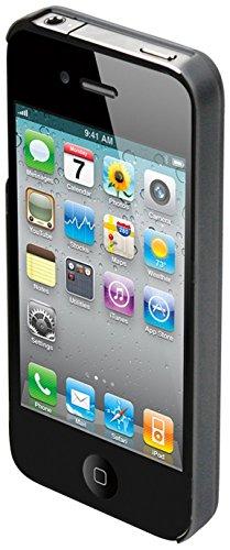 Muvit iPhone 4 back cover schwarz mit integriertem Tischständer MUCCP0292 (mit integriertem Tischständer und Schutzfolie.)