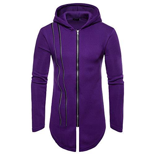 - Kaniem Hooded Jacket,Mens Unique Line Design Zipper Hooded Sweatshirt Coat Long Outerwear (XL, Purple)