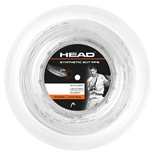 (Head Synthetic Gut PPS Tennis Racket String 200m Reel - 16 Gauge Multifilament Racquet String, White)