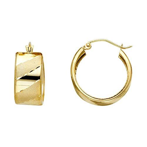 Jewels By Lux 14K Yellow Gold Wide Design Diagonal Diamond-Cut Hoop Womens Earrings 18MM X 18MM