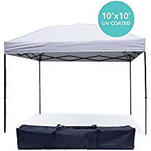 Pop Up Canopy Tent 10 x 10 Feet, White - UV Coated, Waterproof Outdoor Party Gazebo Tent …