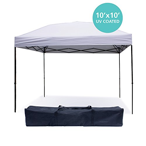 Pop Up Canopy Tent 10 x 10 Feet, White - UV Coated, Waterproof Outdoor Party Gazebo Tent (Corner Gazebo)