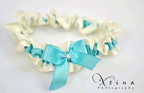 Elegant Aqua Blue & Ivory Satin Wedding Bridal Garter Keepsake Or Garter Set
