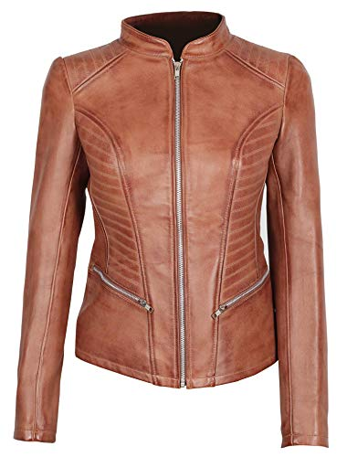 Decrum Brown Womens Leather Jackets - Leather Moto Jacket Women | [1300172] N-185, S
