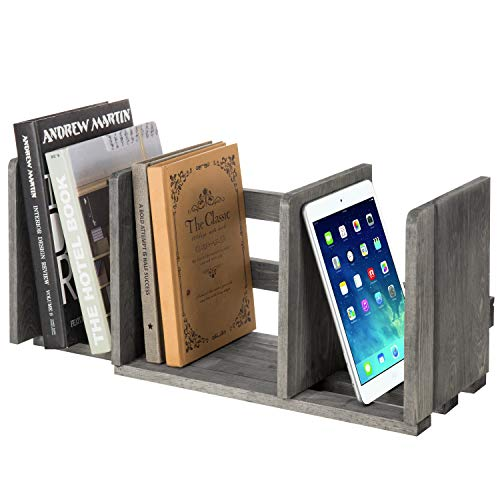 MyGift Expandable Gray Wood Desktop Bookshelf Organizer Rack