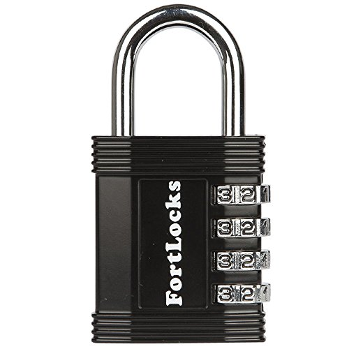 FortLocks Padlock - 4 Digit Combination Lock for Gym Outdoor & School Locker, Fence, Case & Shed - Heavy Duty Resettable Set Your Own Combo - Waterproof & Weatherproof (Black, 1 Pack) (Best Padlock For Outdoor Shed)