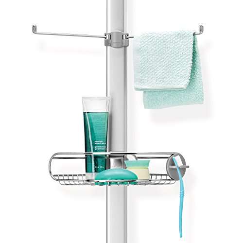 simplehuman Tension Shower Caddy, Adjustable Tension Pole, Stainless Steel and Anodized Aluminum