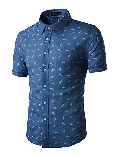 (uxcell Men Short Sleeves Button Closed Fishbone Prints Cotton Shirt Navy Blue L (US 42))