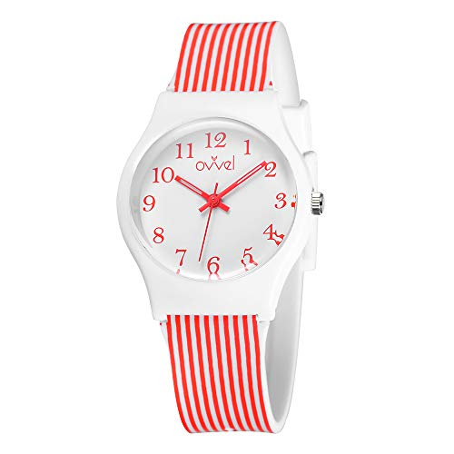 - Ovvel Girls Watch – Pretty and Cute Kids Wristwatch with Teaching Analog Display Time Teacher - Japanese Quartz Movement - Red & White Stripes