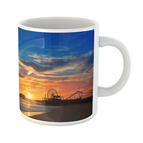 Semtomn Funny Coffee Mug Santa Monica California Sunset on Pier Ferris Wheel 11 Oz Ceramic Coffee Mugs Tea Cup Best Gift Or Souvenir -