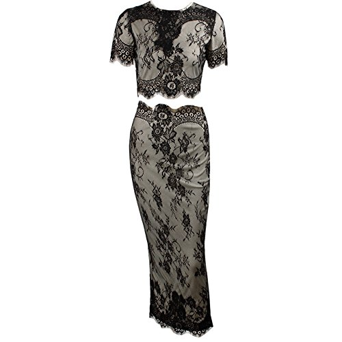 Missord 2015 Nude lining Lace Stitching 2 Piece Dress X-Small Black