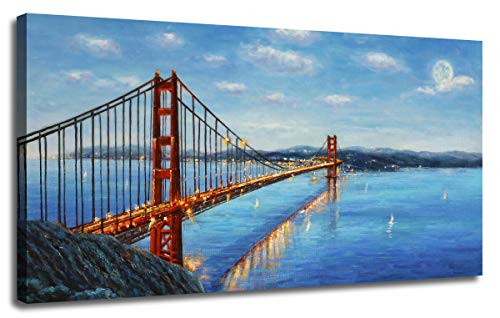 - Ardemy Canvas Wall Art Prints Modern Golden Gate Bridge Red Picture Panorama Seascape, Modern Blue Ocean Twilight Landscape Painting Framed for Living Room Bedroom Dinning Room Home Office Wall Decor
