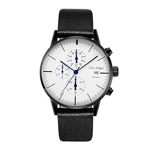 (Adam Gallagher Men's Watches 43mm Wrist Quartz Multi Function Chronograph Watch Leather Strap (Black) )