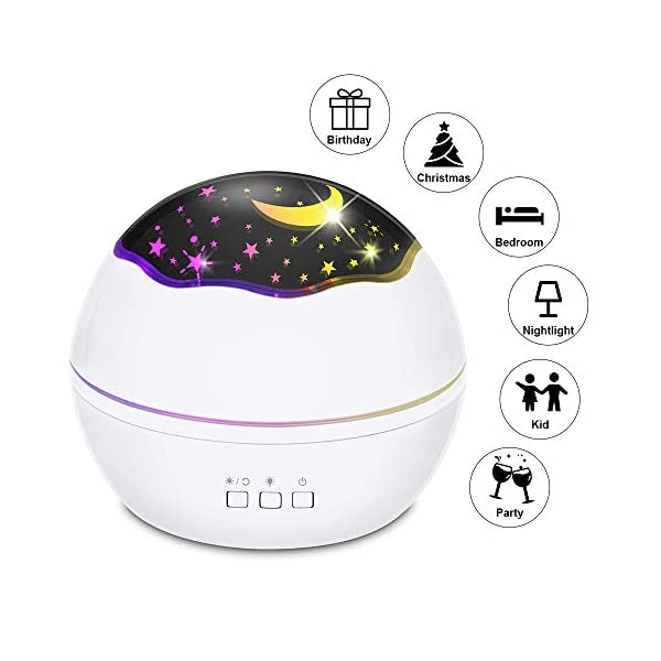 Starry Night Light Projector, LED Lamp Star Moon Projector Rotating Night Light Sleep Soother for Baby Kids Bedroom Decoration Ideal Gift with Ocean Undersea Projection Film 8 Colors Mode