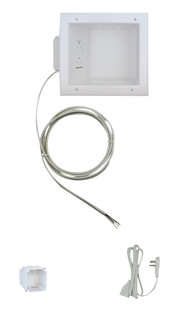 Datacomm Electronics Recessed TV Cable & Media Organizer Kit, Duplex Power Receptacle, white (50-6653-WH-KIT)