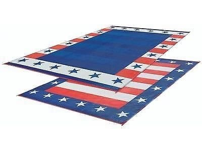 EZ Travel Collection RV Patio Mat American Flag Awning Mat USA Camping Mat Trailer Outdoor Rug 8x20