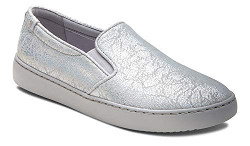 Vionic Women's Pro Mahoney Avery Slip-on - Ladies Water Resistant Slip Resistant Service Shoes with Concealed Orthotic Arch Support Silver Metallic 7.5 W US ()