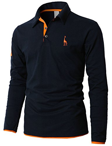 H2H Men's Stretch Mini Pique Slim Fit Polo Shirt Navy US S/Asia L - Cheap Polo Us