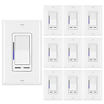 Image of [10 Pack] BESTTEN Digital Dimmer Switch with LED Indicator, Horizontal Dimming Slider Bar, Single Pole or 3-Way, for Dimmable LED Lights, CFL, Incandescent, Halogen Bulbs, UL Listed, White Home Improvements