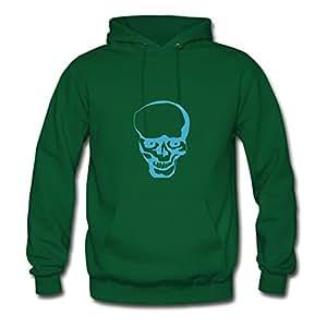 Round-collarclothing Women Skeleton Image Hoody (x-large,green)