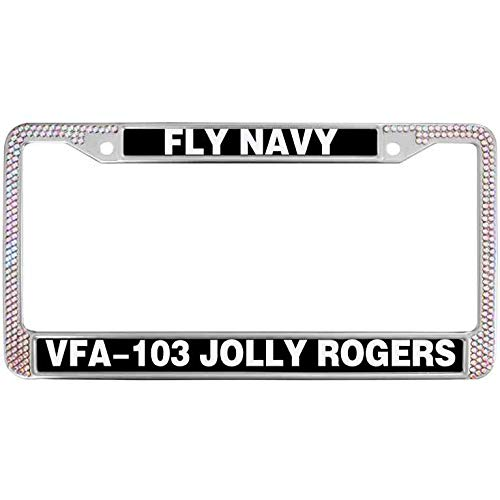 paipaidiedie Car License Plate Covers Fly Navy Vfa-103 Jolly Rogers License Plate Frame Marines Semper Fi Diamond Colorful Crystal License Plate Frame Aluminum Metal to Fit Any Standard US